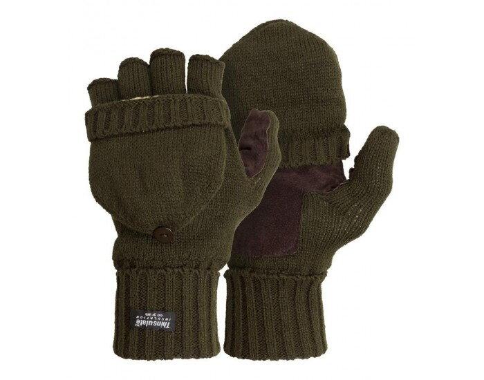 Rukavice strelecké zateplené s kožou na dlani - oliv. zelené 7b299b23e19