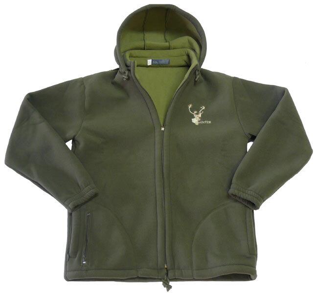 Poľovnícka bunda fleece s kapucňou Hunter - olivovo zelená 6a3d0d80186