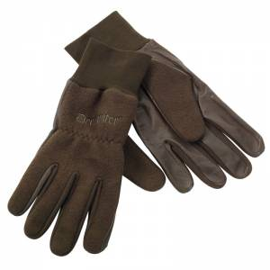 Deerhunter Fleece Gloves w. leather - flísové rukavice