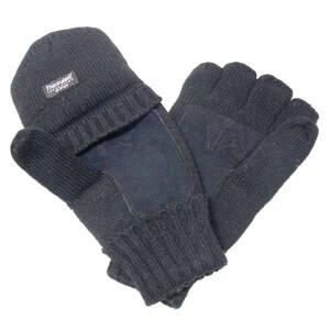 Rukavice strelecké zateplené s kožou na dlani - čierne 5ab574ae226