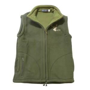 5838bdab631e Poľovnícka vesta fleece Hunter s jeleňom - oliv. zelená